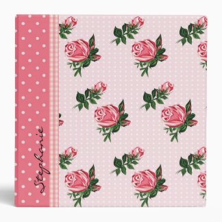 Cottage Chic Pink Roses & Polka Dots Wedding Vinyl Binders