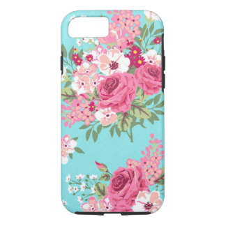 Cottage Chic Roses on Turquoise phone case