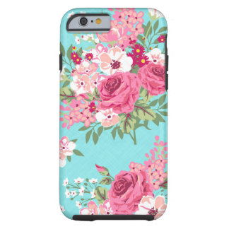 Cottage Chic Roses on Turquoise phone case Tough iPhone 6 Case