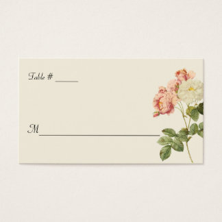Cottage Chic Roses Wedding Escort Card