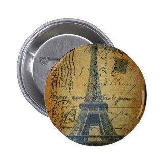 Cottage Chic Scripts Vintage Paris Eiffel Tower 2 Inch Round Button