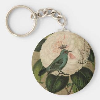 Cottage Chic Vintage Bird french botanical art Keychain