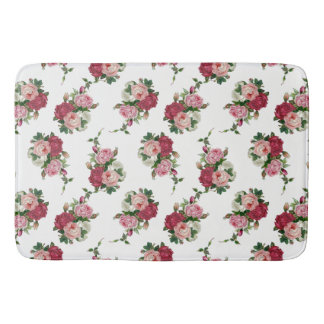 Cottage Chic White, Pink and Red Roses Bath Mat