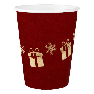 Cottage Christmas Burgundy Gray Golden Gift Paper Cup