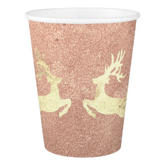 Cottage Christmas CopperRose Gold Glitter Reindeer Paper Cup