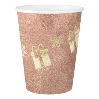 Cottage Christmas Present Gift Rose Gold Copper Paper Cup
