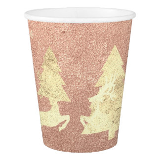 Cottage Christmas Rose Gold Copper Tree Renadeer1 Paper Cup