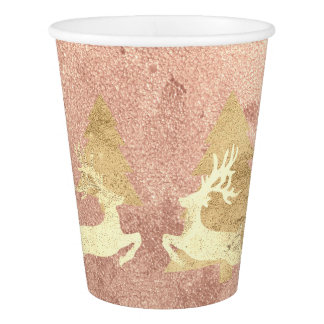 Cottage Christmas Rose Gold Copper Tree Renadeer Paper Cup