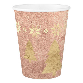 Cottage Christmas Rose Gold Copper Tree Star Paper Cup