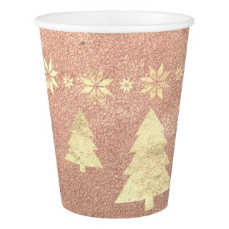 Cottage Christmas Rose Gold Copper Tree Stars Paper Cup
