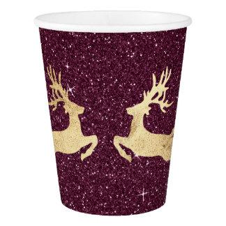 Cottage Christmas Spark Burgundy Glitter Reindeer Paper Cup