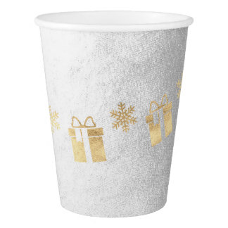 Cottage Christmas White Gray Golden Gift Paper Cup