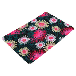 Cottage floral printed embroidery floor mat