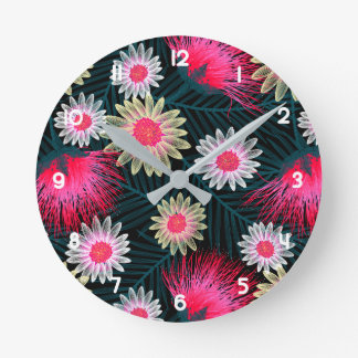 Cottage floral printed embroidery round clock