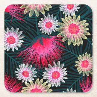 Cottage floral printed embroidery square paper coaster