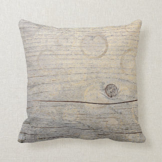 Cottage Grungy Foxier Gold Glam Metallic Wood Throw Pillow