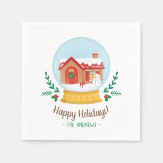 Cottage House Snowman Christmas Snow Globe Napkins Disposable Napkins