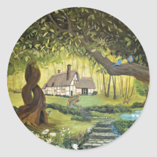 Cottage in the Woods Classic Round Sticker