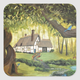 Cottage in the Woods Square Sticker