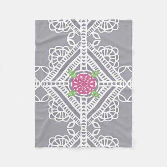 Cottage Lace Print Fleece Blanket