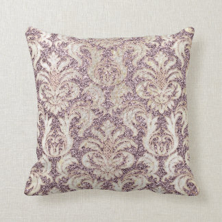 Cottage Lavande Amethyst Damask Gray Pearl Glitter Throw Pillow