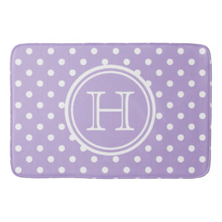 Cottage Lavender and White Polka Dot Monogram Bath Mat