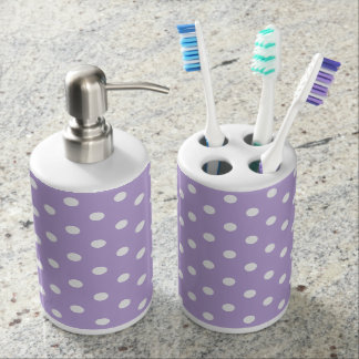 Cottage Lavender and White Polka Dot Soap Dispenser And Toothbrush Holder