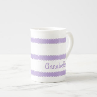 Cottage Lavender Ribbons Personalized Tea Cup