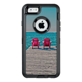 Cottage Life, beach chairs on dock OtterBox Defender iPhone Case