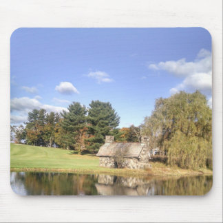 Cottage on a lake mouse pad