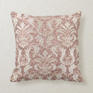 Cottage Pink Rose Gold Damask Gray Pearl Glitter Throw Pillow