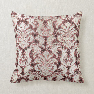 Cottage Pink Rose Maroon Damask Gray Pearl Glitter Throw Pillow