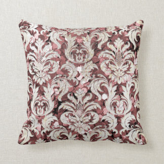 Cottage Pink Rose Maroon Damask Gray Pearl Sequin Throw Pillow