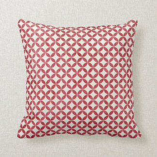Cottage Red Graphic Circle Throw Pillow