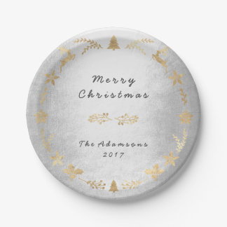 Cottage Silver Gray Gold Christmas Paper Plate