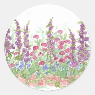 Cottage Spring Garden Watercolor Flower Art Classic Round Sticker