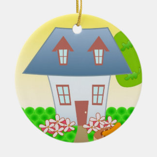 Cottage – Summer Round Ceramic Ornament