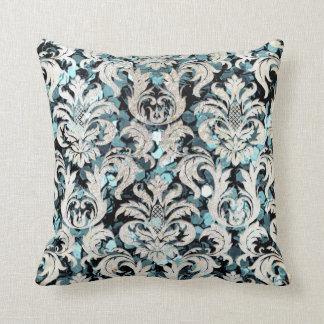 Cottage Teal Aquatic Blu Damask Gray Pearl Glitter Throw Pillow