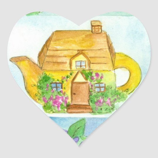 Cottage Teapot Lilac Flower Watercolor Art Heart Sticker