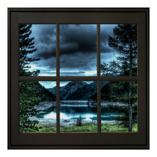 Cottage View Faux Window Illusion 24x24 Black Poster