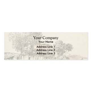 Cottage with wooden fence amid trees by Rembrandt Business Card