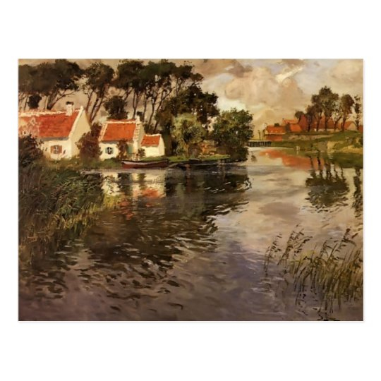 Cottages by a River by Frits Thaulow Postcard