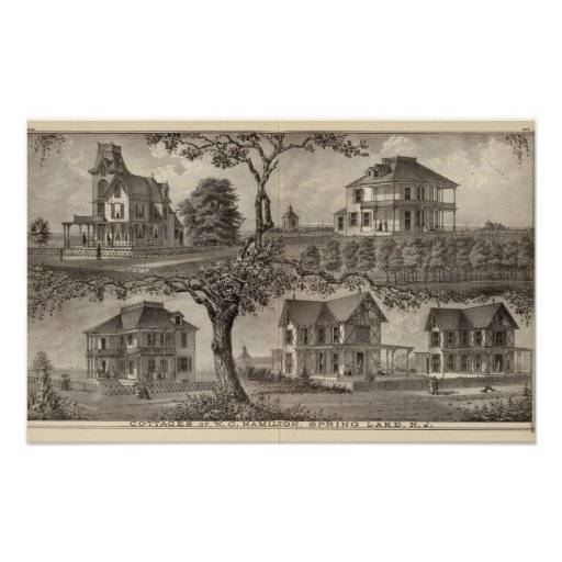 Cottages of WC Hamilton, Spring Lake, NJ Poster