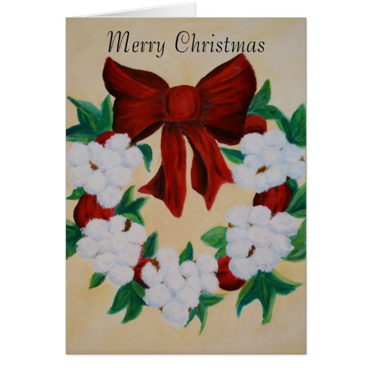 Cotton Boll Wreath Christmas Card