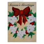 Cotton Boll Wreath Season's Greetings Card