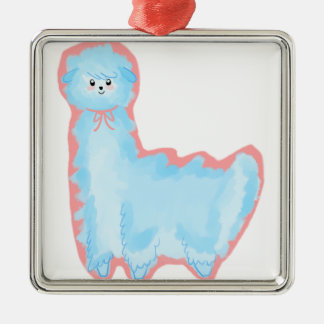 Cotton Candy Alpaca Silver-Colored Square Ornament