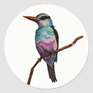Cotton Candy Color Bird Painting Classic Round Sticker