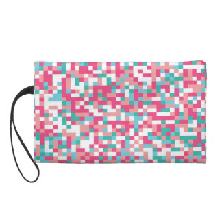 Cotton Candy Colored Abstract Pixel Design Wristlet Purses