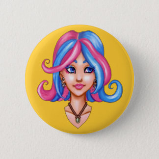 Cotton Candy Girl 2 Inch Round Button