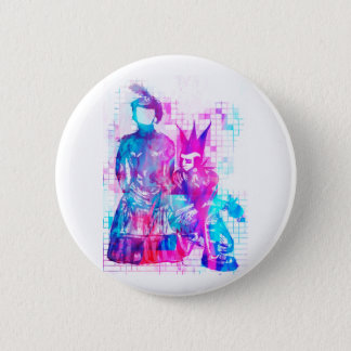 Cotton Candy Goth Girl and Punk Dude 2 Inch Round Button